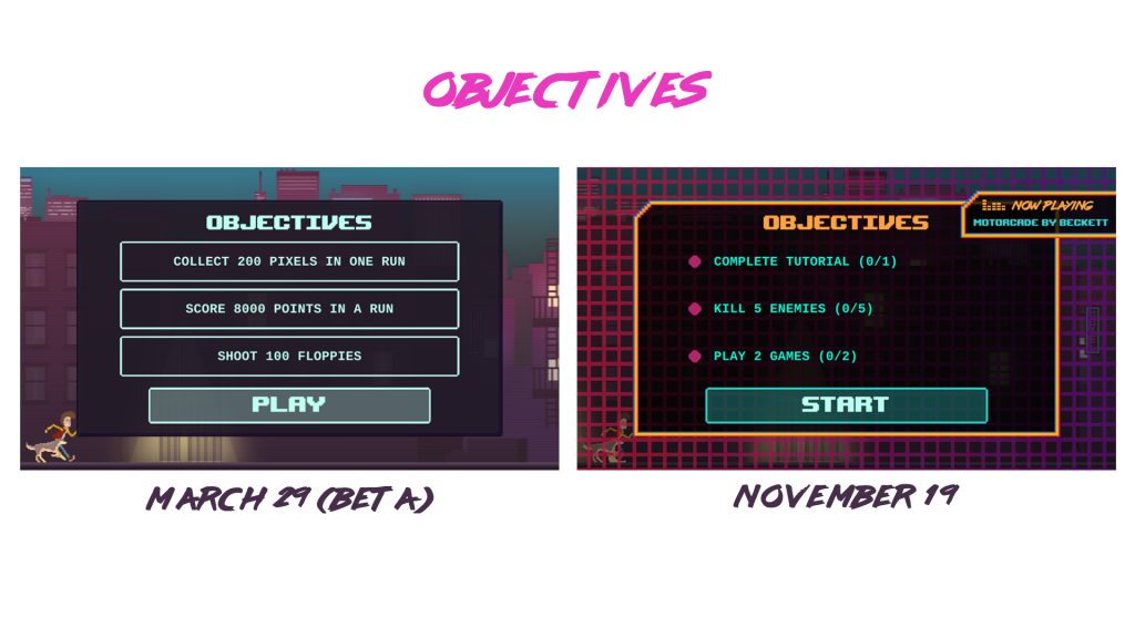 Two screenshots of Top Run objectives UI, one is very simple, second one is nice and 80s-like